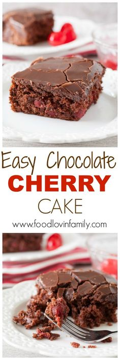 Easy chocolate cherry cake is a moist and delicious chocolate cake filled with cherries and topped with chocolate ganache. A great cake for any occasion! | http://www.foodlovinfamily.com/easy-chocolate-cherry-cake/
