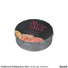 Chalkboard Wedding Favor Abstract Roses Candy Tin