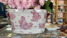Gorgeous pink Champagne Cooler Champagne Cooler, Pink Champagne, Blue China, Planter Pots, Blue Chinaware