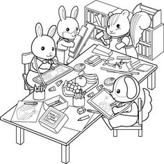 Calico Critters Coloring Pages Super Coloring Pages, Family Coloring Pages, Coloring Book Art, Colouring Pages, Printable Coloring Pages, Toddler Coloring Book, Coloring Pages For Kids, Sylvanian Families, Play Shop