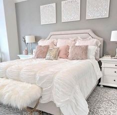dream of a master bedroom 36 - Home sweet Home - Bedroom Decor Cute Bedroom Ideas, Cute Room Decor, Girl Bedroom Designs, Grey Bed Room Ideas, Simple Bedroom Design, Ideas For Bedrooms, Girl Room Decor, Adult Room Ideas, Romantic Bedroom Design