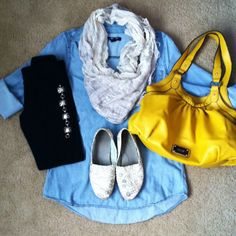 What i wore: week of – style me thrifted Casual Teacher Outfit, Winter Teacher Outfits, Fall Winter Outfits, Yellow Purses, Yellow Handbag, Toms Outfits, Cute Outfits, Sweaters And Leggings, Black Leggings