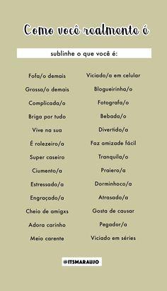 Brincadeiras Checklist Template, Instagram Blog, Instagram Story Template, Sentences, Funny Jokes, Love You, Mood, Thoughts, Humor