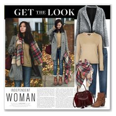 """""""Get the Look - Coat & Jeans Outfit"""" by helenehrenhofer ❤ liked on Polyvore featuring 7 For All Mankind, Frye, Trilogy, Big Buddha, Topshop, GetTheLook and winteressentials"""