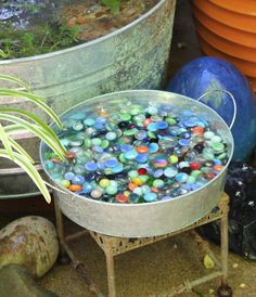 How I created some patio water gardens in galvanized tubs.