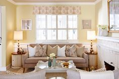 Shop This Look: Charming Yellow Cottage Living Room >> http://photos.hgtv.com/rooms/viewer/living-space/living-room/modern/bright-cottage_style-living-room-from-sarah-sees-potential?soc=pinterest
