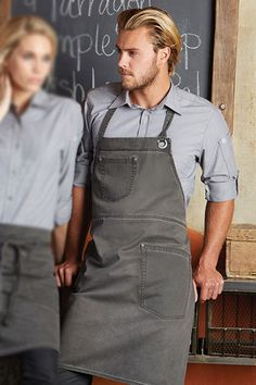 Női kötény, farmer hatás More Work Aprons - uniform Cafe Uniform, Waiter Uniform, Hotel Uniform, Staff Uniforms, Work Uniforms, Kellner Uniform, Bartender Uniform, Bib Apron, Uniform Design