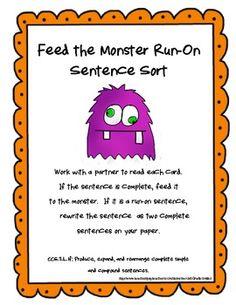 Feed the Monster Run-On Sentence Sort