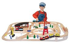 Melissa Doug Deluxe Wooden Railway Set pcs) - best wooden train sets for kids Train Miniature, Train Table, Wooden Train, Starter Set, Melissa & Doug, Thomas The Train, Disney Junior, Train Set, Classic Toys