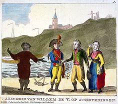 Het vertrek van Willem V van Scheveningen, de prins vlucht naar Engeland. Afscheid op het strand 1795 vissersvrouw #ZuidHolland #Scheveningen