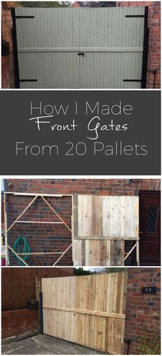 #Garden, #Gate, #PalletFence, #RecyclingWoodPallets We had some old rough iron gates that needed replacing (see the last picture). We looked at wooden gates, but these were expensive, so I challenged myself to make my own out of pallets. You can see in the pictures my process.