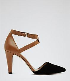 Klara Tan Two Tone Closed Toe Sandals - REISS