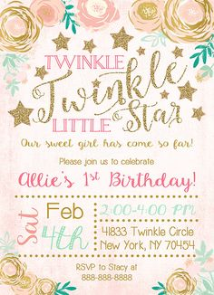 twinkle twinkle little star girl birthday invitation ballet tips