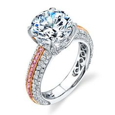 Simon G. Two-tone White and Rose 18K Gold Pave Engagement Ring Featuring 0.86 Carats White Diamonds and 0.17 Carats Natural Fancy Pink Diamonds. Only available