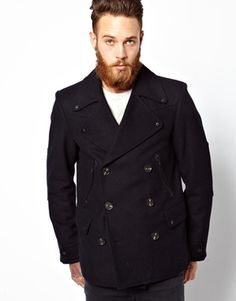 Buy ASOS Peacoat With Military Detail In Navy at ASOS. Get the latest trends with ASOS now. Caban Bleu Marine, Modern Mens Fashion, Men's Fashion, Brown Chinos, Navy Pea Coat, Asos Men, Grey Tie, Fashion Articles, Men Style Tips