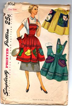1950's Simplicity Mexican theme Apron Pattern - One Size - No. 4062 by backroomfinds on Etsy