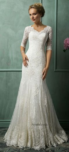 Cheap mermaid wedding dresses, Buy Quality plus mermaid wedding dress directly from China lace wedding dress Suppliers: 2017 New Elegant White Lace Wedding Dresses V-Neck Half Sleeves Bridal Gown Robe de Mariage 2017 Mermaid Wedding Dress Plus Size Amelia Sposa Wedding Dress, Wedding Dress Mermaid Lace, V Neck Wedding Dress, Wedding Dresses 2014, Wedding Attire, Wedding Gowns, Lace Wedding, Dream Wedding, Formal Wedding