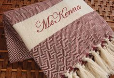 Personalized HandWoven Turkish Towel BURGUNDY Diamond COTTON PESHTEMAL - Monogrammed Embroidered by NaturalSoft on Etsy https://www.etsy.com/listing/155424896/personalized-handwoven-turkish-towel