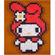My Melody Sanrio hama perler beads Perler Bead Designs, Hama Beads Design, Hama Beads Patterns, Beading Patterns, Perler Beads, Hama Beads Kawaii, Perler Bead Art, Fuse Beads, Hello Kitty