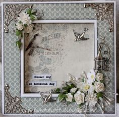 Heidi`s roteloft: Rammekort. Bird Cards, Vintage Cards, Shabby Chic, Paper Crafts, Birds, Romantic, Scrapbook, Frame, Handmade
