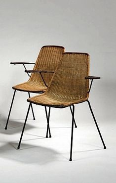 Jean Royère; Enameled Metal and Rattan Armchairs, 1950s.