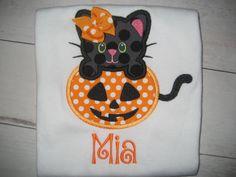 Fall Halloween Pumpkin Cat monogrammed Girls by PolkaDotCloset