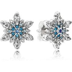 Pandora Earrings - Sterling Silver, Cubic Zirconia & Crystal Blue... (5.105 RUB) ❤ liked on Polyvore featuring jewelry, earrings, silver, pandora jewelry, snowflake earrings, sterling silver jewelry, cz earrings and crystal jewelry