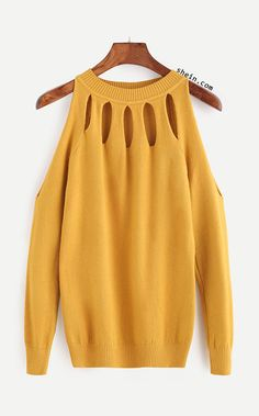 Yellow Open Shoulder Cut Out Sweater