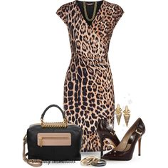 """Leopard Print Dress"" by oribeauty-cosmeticos on Polyvore"