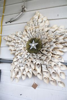 old music sheets paper cones star wreath