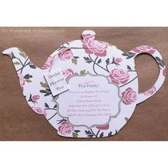 "Victorian ""Tea Pot"" Tea Party Invitations and Matching Envelope Template- White Background with Pink Roses ♥INSTANT DOWNLOAD♥    These"