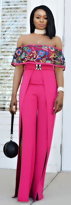 - off the shoulder jumpsuit - flower embroidered mesh ruffle - belt is attached - slit design on the pants - great stretch - polyester, spandex Ankara Dress Designs, Trophy Wife, Embroidered Flowers, Off The Shoulder, Designer Dresses, Jumpsuit, Spandex, Stylish, Pants