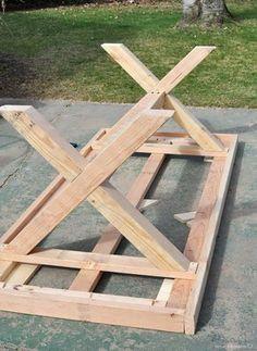 Gartentisch selber bauen Herstellung der Beinen