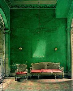 Vintage sofas in green room