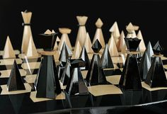 mid-century chess set in crystal