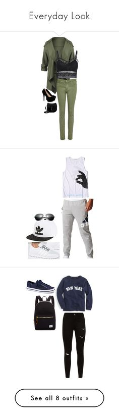 """""""Everyday Look"""" by aliyahbonilla on Polyvore featuring Boohoo, JustFab, adidas, adidas Originals, men's fashion, menswear, J.Crew, Keds, Herschel Supply Co. and Converse"""