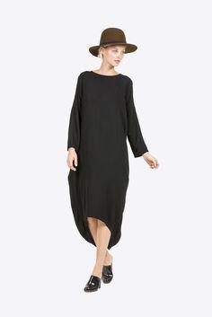 Cocoon Dress, Black by Black Crane #kickpleat #blackcrane #cocoondress