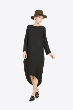 Cocoon Dress, Black by Black Crane #kickpleat #blackcrane #cocoondress