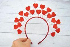 Valentine Theme, Valentines, Bid Day Themes, Heart Crown, Baby Frocks Designs, Flower Headpiece, Crown Headband, Queen Of Hearts, Bridal Flowers