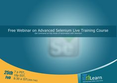"""It's perfect time to build your career! #ITeLearn is conducting a #freewebinar on """"Advanced #Selenium #LiveTraining"""", scheduled on 25th Feb and end tentatively on 13th March. It's a free 1 hour webinar that allows you to get the key concepts in #seleniumwebdriver with #CoreJava.  The training session starts at 7 p PST, 10p EST, 8:30 a IST (26th Feb), so don't miss this amazing opportunity. Register now at https://itelearn.leadpages.net/advanced-selenium/"""