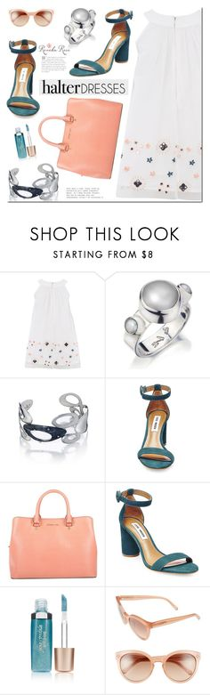 """Shoulder Show: Halter Dresses"" by mada-malureanu ❤ liked on Polyvore featuring French Connection, Steve Madden, Michael Kors, Jane Iredale, Chloé, Silver, jewelry, halterdresses and revekarose"