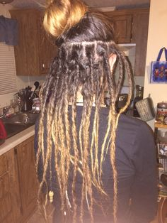 I always wanted Half Dreads. Had temporary dreads before but this is looking cute Half Dreads, Partial Dreads, Wool Dreads, Locs, Blonde Dreadlocks, Sisterlocks, Dreadlock Hairstyles, Cool Hairstyles, Half Dreaded Hair