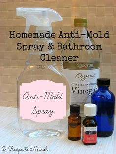 Homemade Anti-Mold Spray & Bathroom Cleaner Recipes to Nourish: Homemade Anti-Mold Spray & Bathroom Cleaner + 10 Ways to Reduce Moisture in Your Home and Clean Your Indoor Air Homemade Cleaning Products, Cleaning Recipes, House Cleaning Tips, Green Cleaning, Natural Cleaning Products, Cleaning Hacks, Cleaning Supplies, Cleaning Mold, Diy Hacks