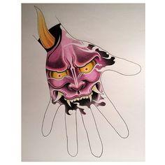 #hannya #evil #mask #japanese #tattoos #design #original #handjob #hand #tattoo #ink #color #purple #prismacolor #pencils #edm #apprentice #art #drawing #sotd #sydney #australia @rubixcubetattoo