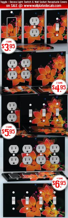 DIY Do It Yourself Home Decor - Easy to apply wall plate wraps | Hawaiian Midnight  Neon lilies on black  wallplate skin stickers for single, double, triple and quadruple Toggle and Decora Light Switches, Wall Socket Duplex Receptacles, and blank decals without inside cuts for special outlets | On SALE now only $3.95 - $6.95
