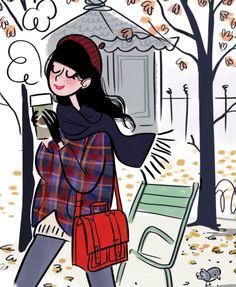 Illustration qui colle tellement à notre mood d'hier avec l'une de mes meilleures amies , ballade dans Paris et Starbucks d'hiver !