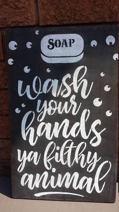 wash your hands you filthy animal bathroom sign Bathroom Door Sign, Bathroom Humor, Boy Bathroom, Bathroom Ideas, Beach House Signs, Pool Signs, Gag Gifts Christmas, Christmas Signs, Cute Signs