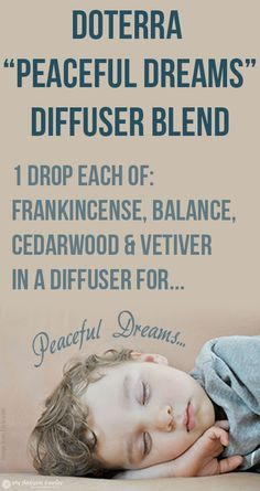 Sleepless insomnia essential oils doTERRA Peaceful Dreams Diffuser Blend - 1 drop each of frankincense, Balance, cedarwood & vetiver Doterra Oils For Sleep, Essential Oils For Sleep, Doterra Essential Oils, Sleep Oils, Yl Oils, Yoga Meditation, Arthritis, Frankincense Essential Oil Uses, Doterra Frankincense