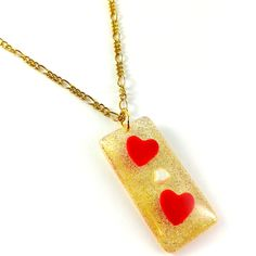 Heart pendant necklace Love pendant Gold pendant Red heart jewelry Golden pendant Red hearts Gold white Valentine gift Unusual gift for her (17.07 USD) by Galiga