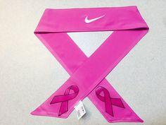 Custom Pink Breast Cancer Awareness Nike Dri-Fit Head Tie Headband - Black, White  - Multi. Sport / Yoga